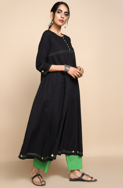 Black cotton anarkali with round neck and green hand embroidery and mirror work on  bust and border