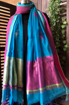 chanderi silk dupatta - sky blue & flamingoes