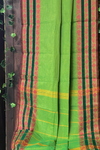 chettinad cotton saree - leaf green & pink border