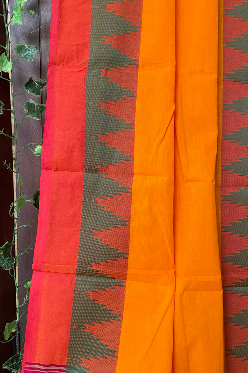 chettinad cotton saree - marigold & temple border