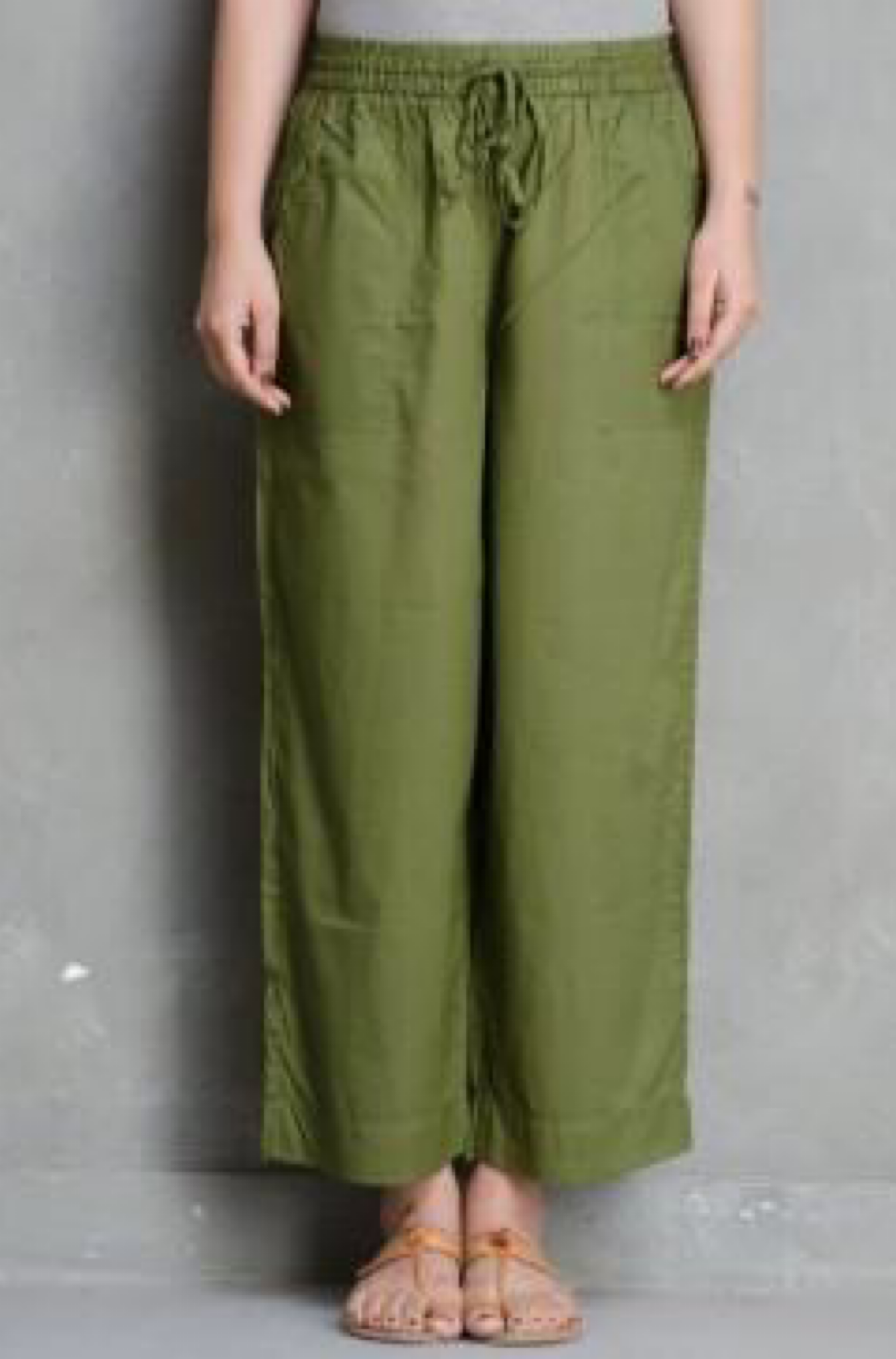 ELASTICATED CAMBRIC PANTS - OLIVE GREEN
