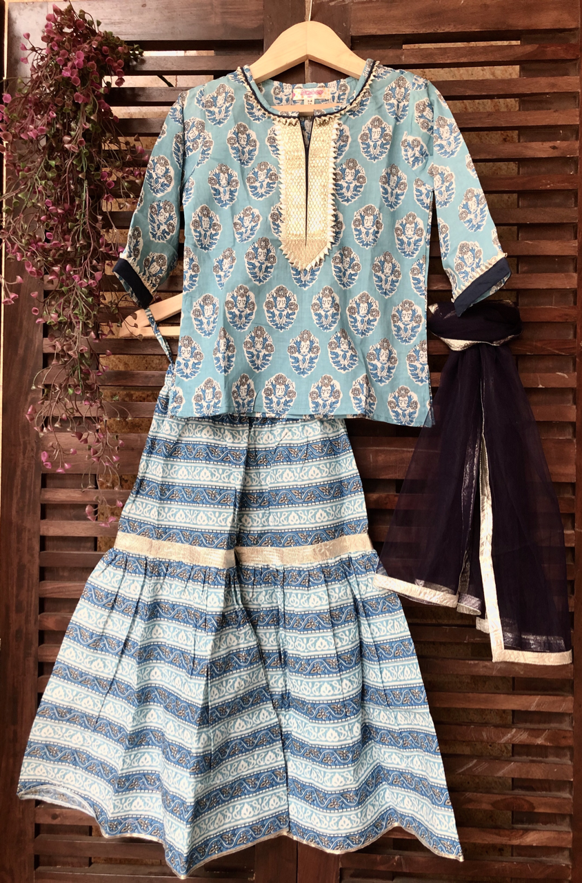 kidswear - blue kurti with blue sharara & dupatta