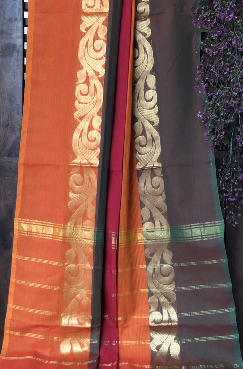 chettinad cotton saree - madder & orange dual shade border