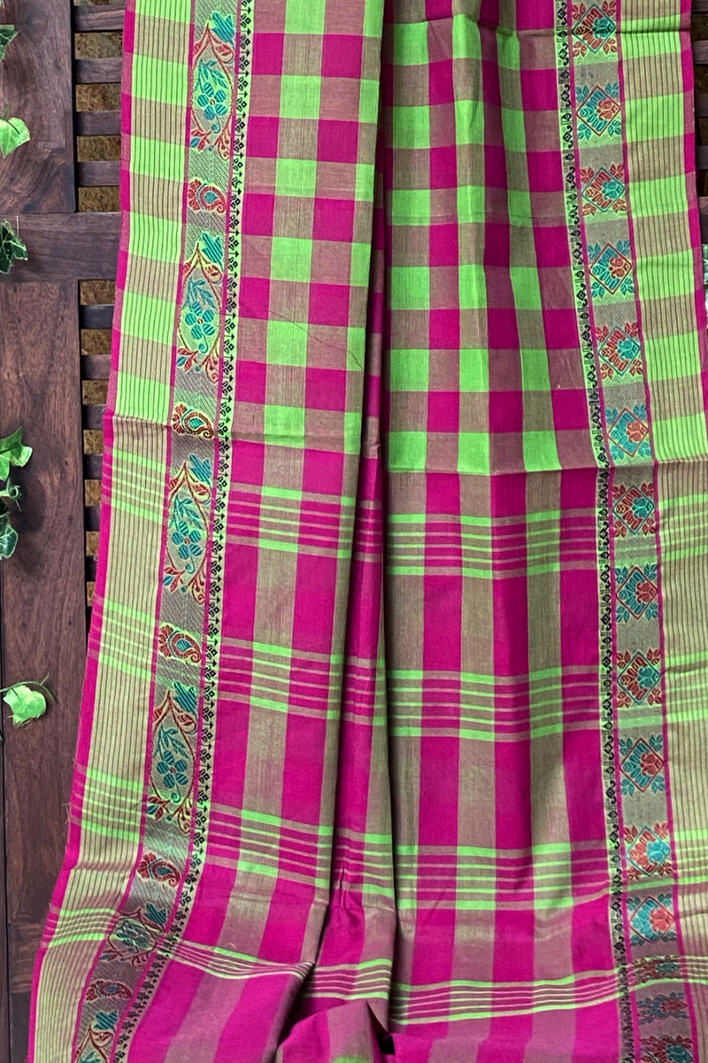 chettinad cotton saree - dash of green & chequered love