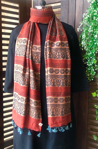 ajrakh silk stole - terracotta & star