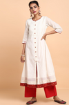 a-line anarkali - elegant pearls & madder drop