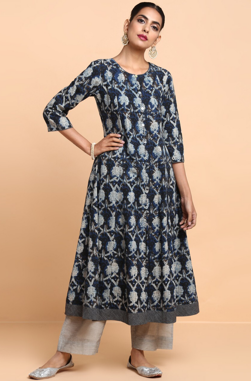 a-line anarkali - midnight sky & water lilies
