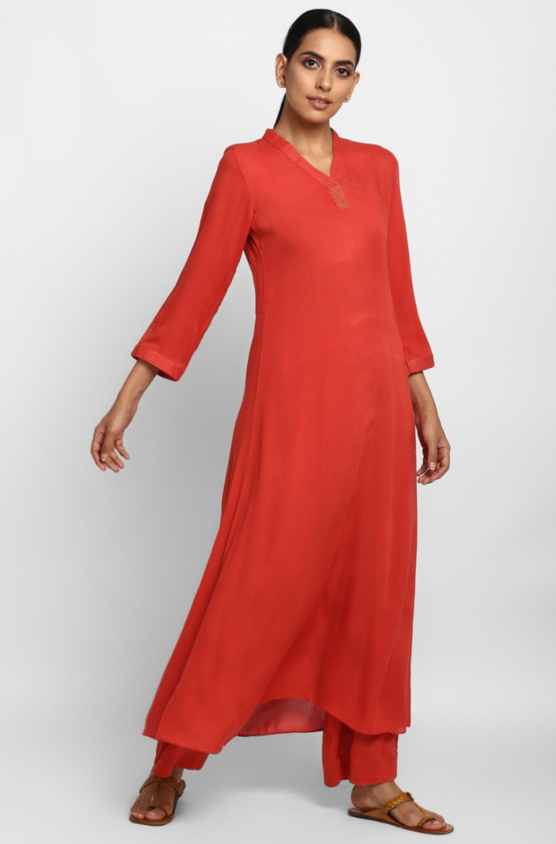 stand collar kurta with pants  - coral rose & threads of gold