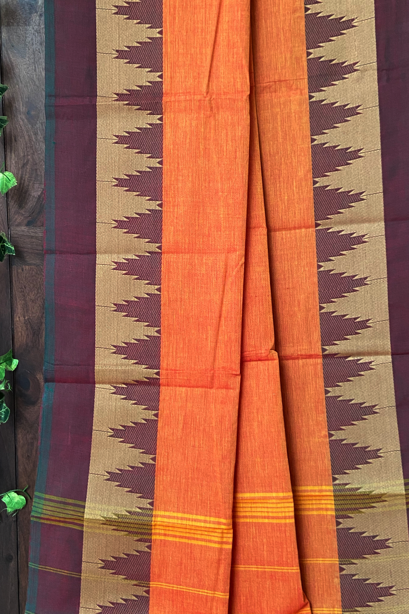 chettinad cotton saree - peach hues & temple border