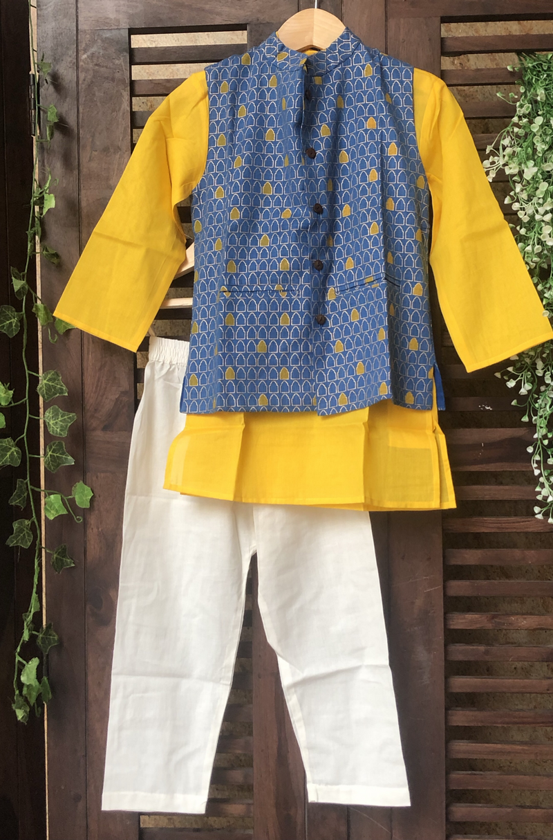 kidswear - blue gold jacket with yellow kurta & pajama