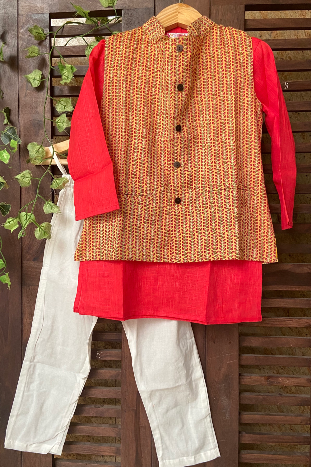 kidswear - yellow leaf jacket with peach kurta & pajama