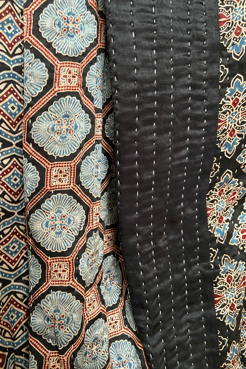 handcrafted mashroo double quilt with filler - starry midnight & copper dust