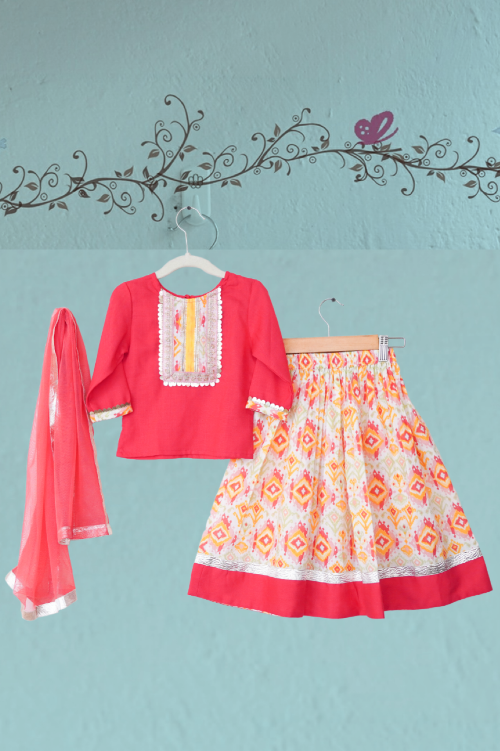 kidswear - red yellow ikat lehenga with red top & dupatta