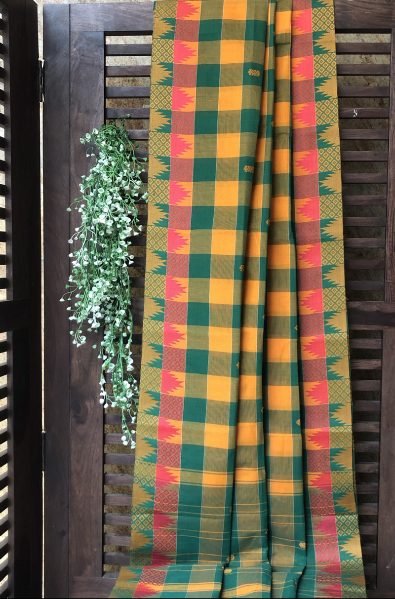 chettinad cotton saree - yellow green checks & border
