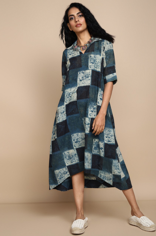 bias shirt dress - vintage indigo & mosaic