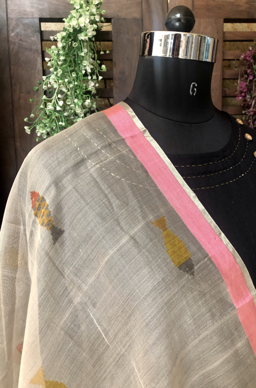 handwoven chanderi dupatta - coastal fog & fishes
