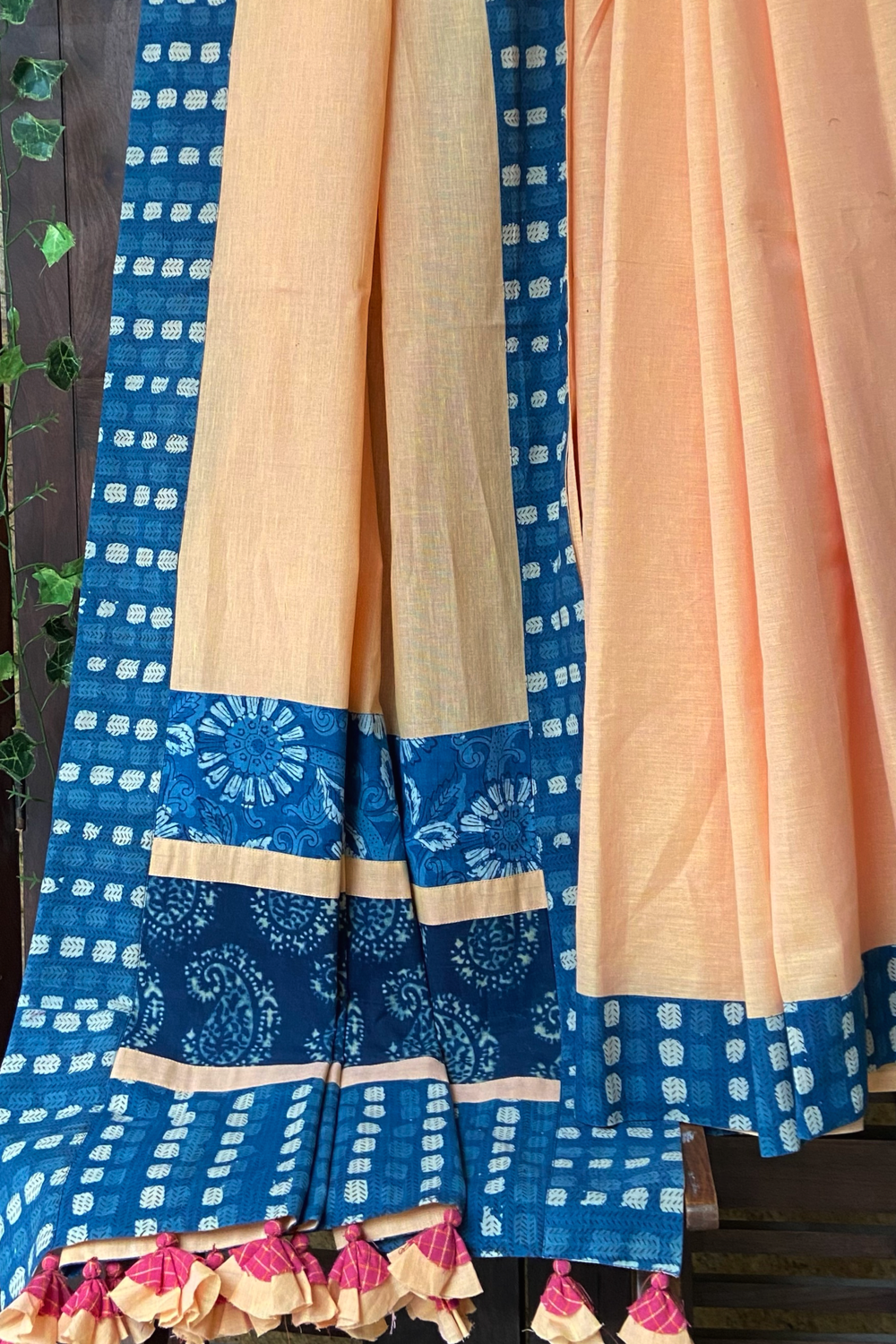 patchwork applique saree - evening glow & indigo flora