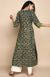 side potli long kurta - indigo & daffodils