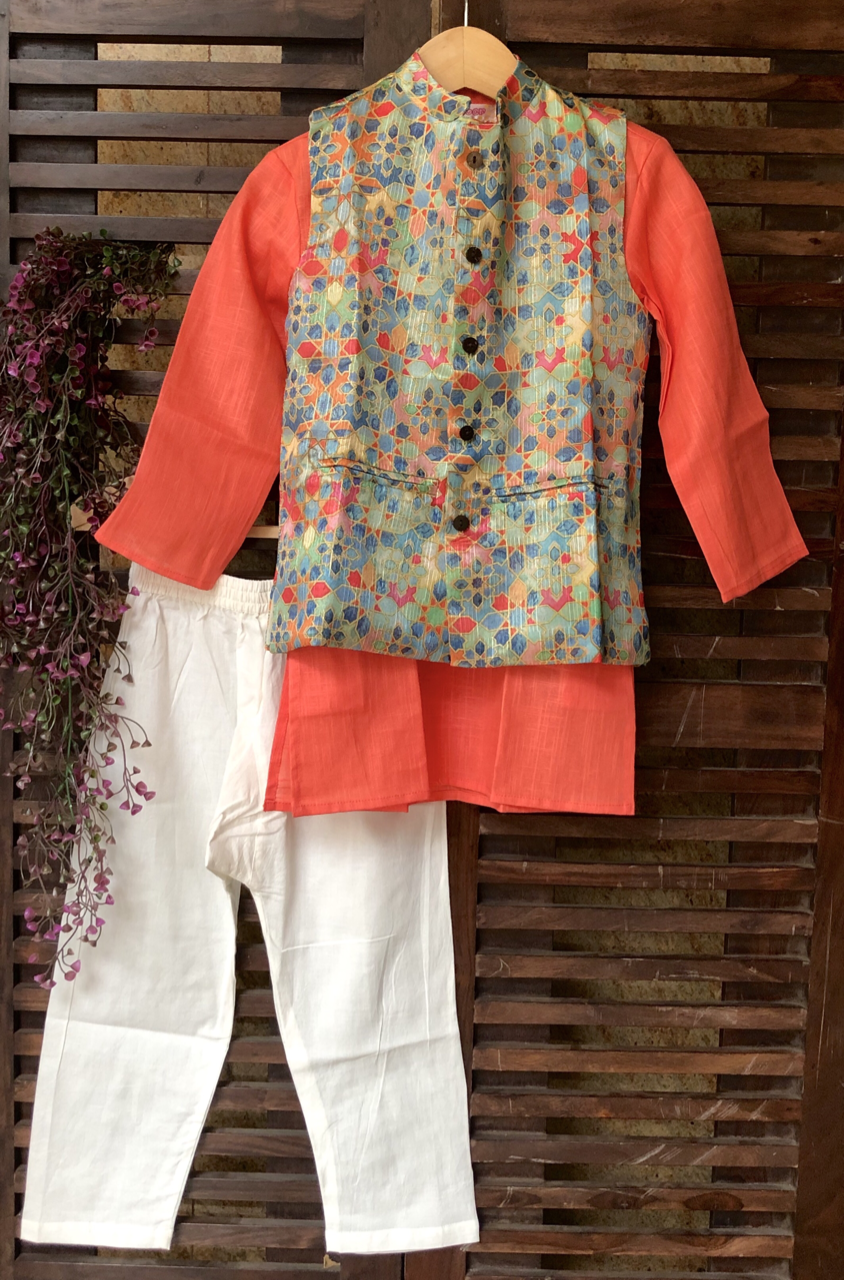 kidswear - multicolored jacket with peach kurta & pajama
