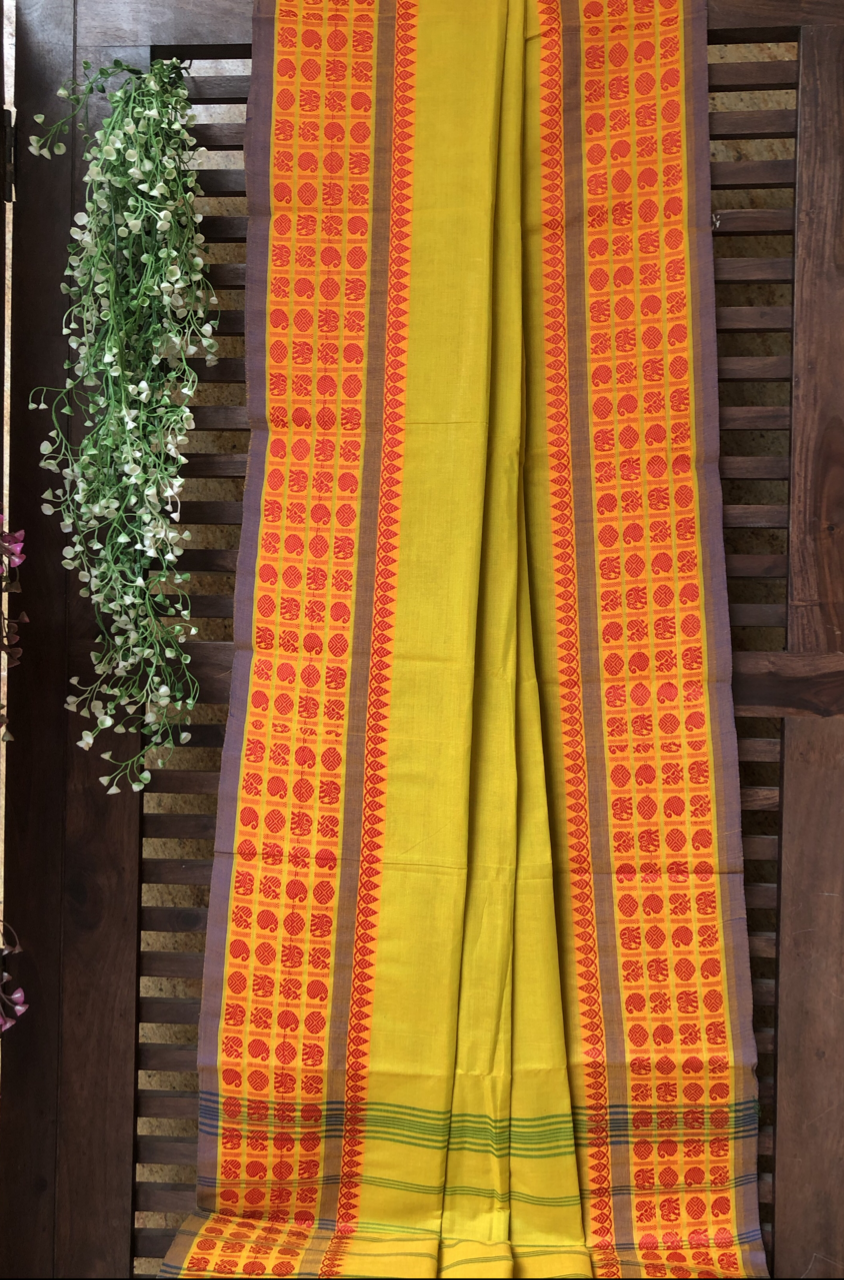chettinad cotton saree - lime green & big border