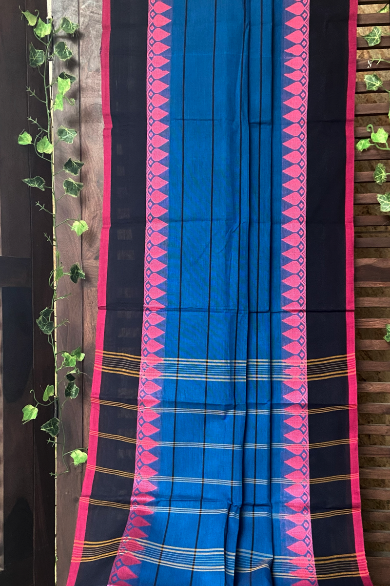 chettinad cotton saree - azure & chequered