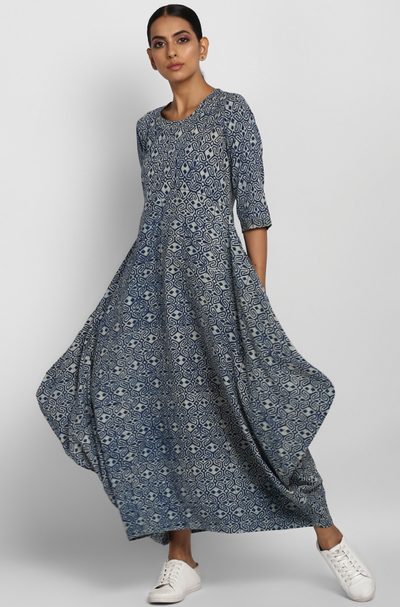 Indigo ajrakh  long dress in Cotton with cowls
