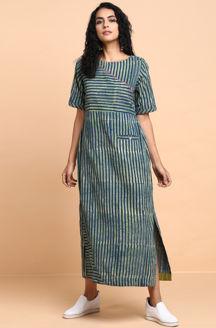 dress - indigo henna & stripes