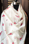 handwoven chanderi dupatta - fuschia sparrows & sunny day