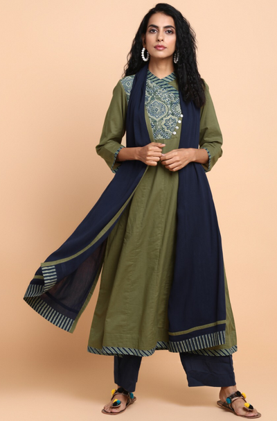 cross button anarkali - olive lights & vintage yoke