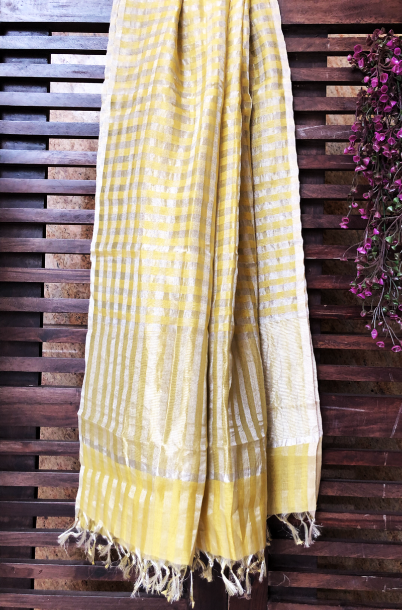 handwoven chanderi dupatta - gold & zari checkers