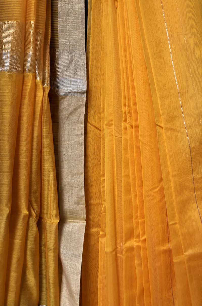 handwoven chanderi saree - tangerine sheer & gold stripes