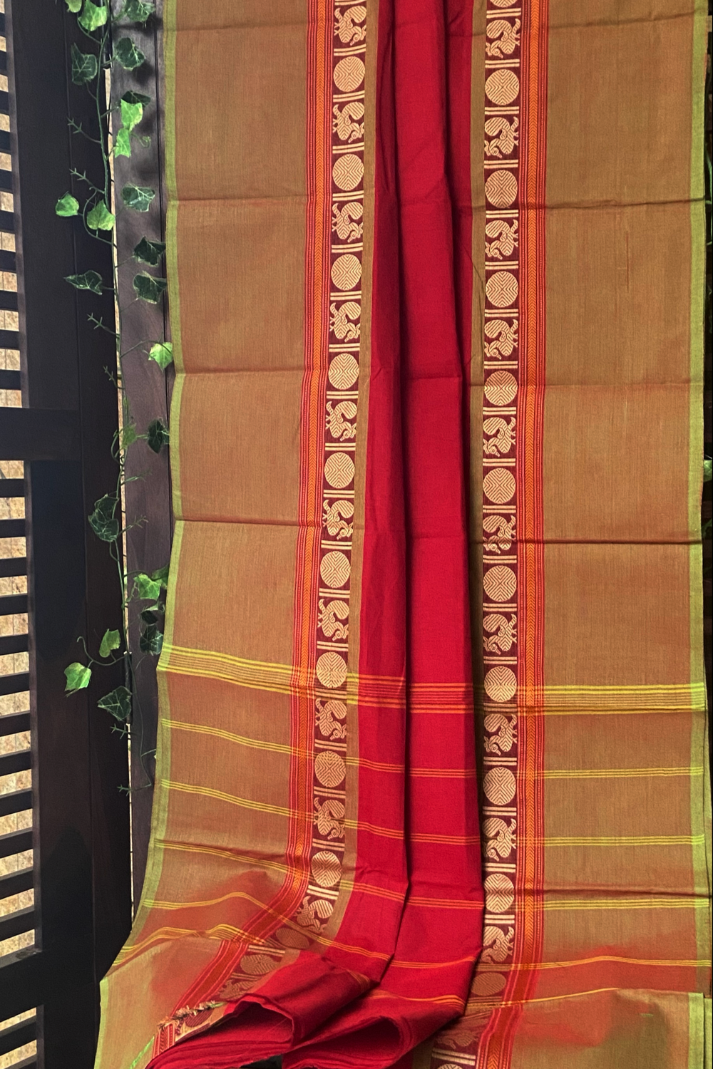 chettinad cotton saree -festive red & gold border
