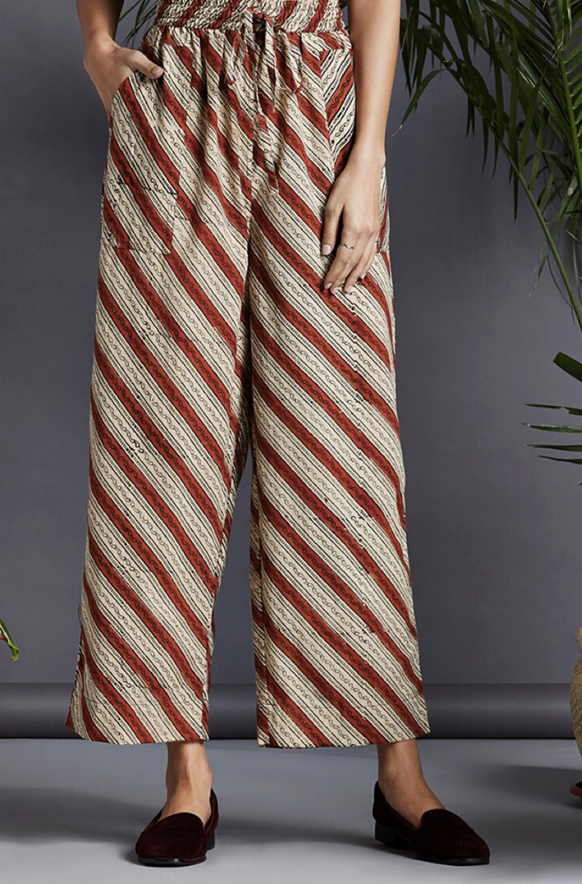 elasticated printed pants - red & biege stripes