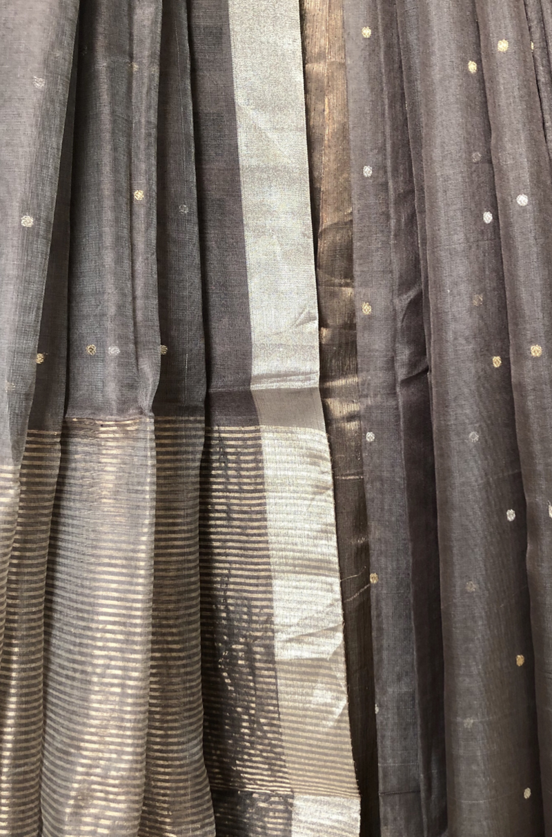 handwoven chanderi saree - ash grey & polka gold