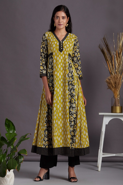 long sufi dress - sunbeam glow & fall leaves