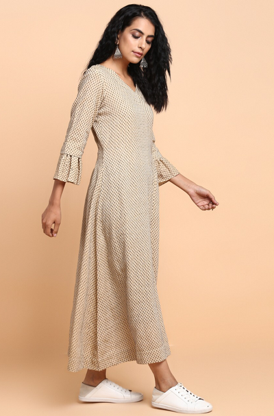 pocket gather dress - sand & black dots