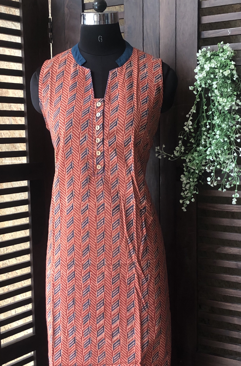 sleeveless collar dress - brick terracotta & teal