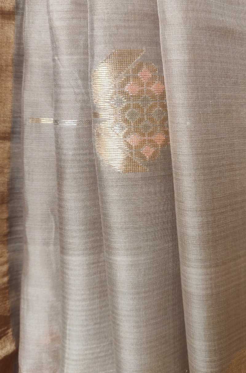 handwoven chanderi saree - copper blush with silvery pines