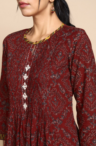 Red Ajrakh Kurta with Pintuck yoke and cream hand embroidery