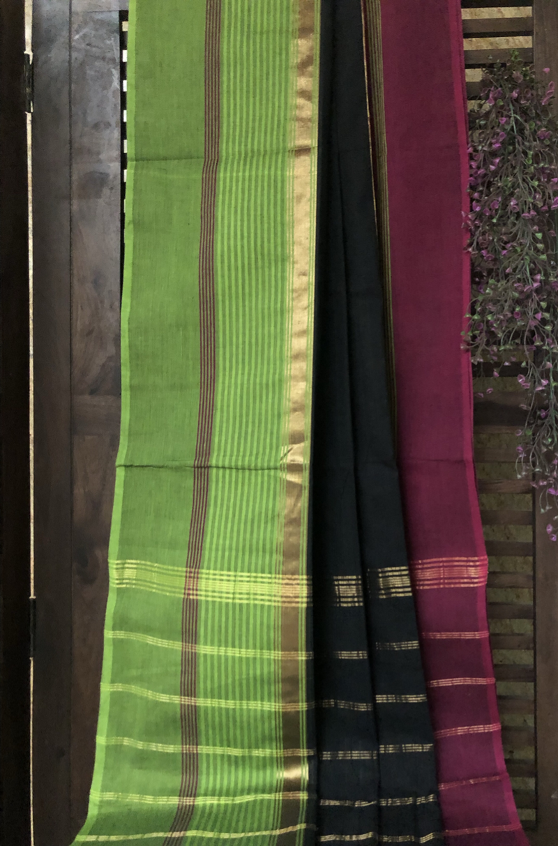chettinad cotton saree - raven & dual border