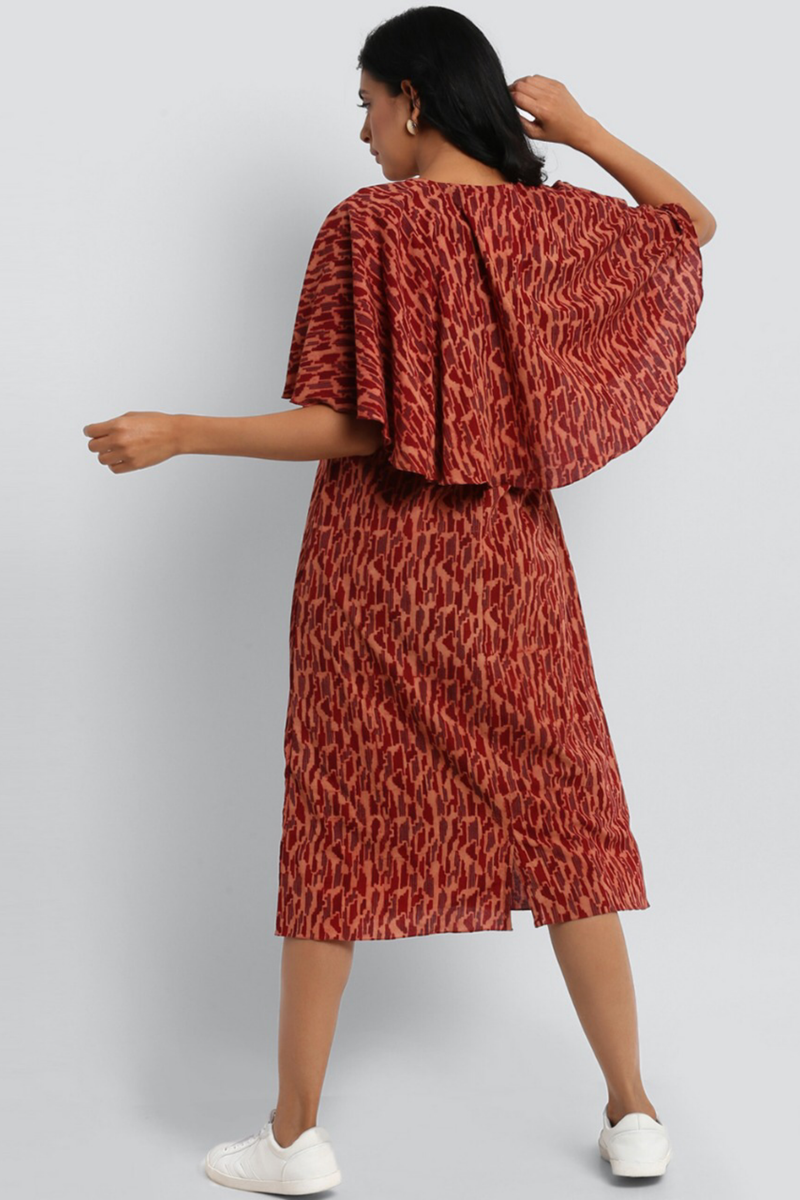 CAPE DRESS - MADDER RED & WAVES