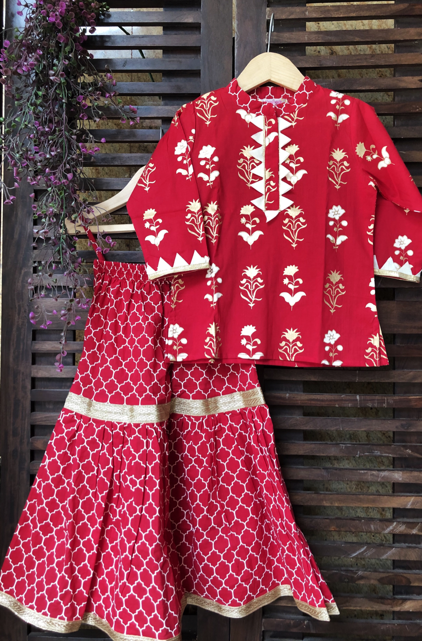 kidswear - red kurti with red sharara