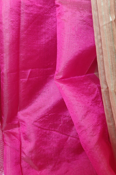 handwoven chanderi saree - salmon & gold lilies