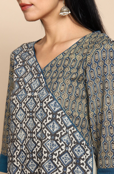 Overlap angrakha dress in Ajrakh grey indigo white  printed side panel and patch pockets