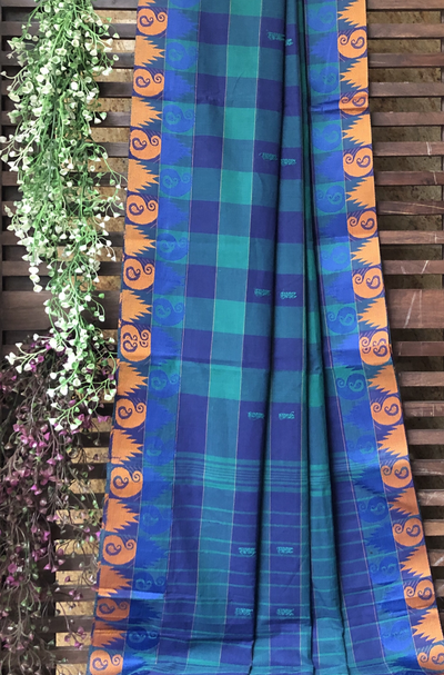chettinad cotton saree - cobalt & sky blue big checks