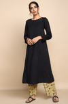 Black mul kurta with lining with golden embroidery at the neck and yellow ajrakh botanical print straight pants