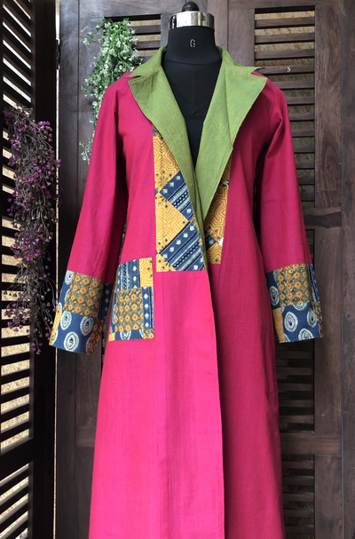 reversible patchwork blazer jacket - dual green & magenta