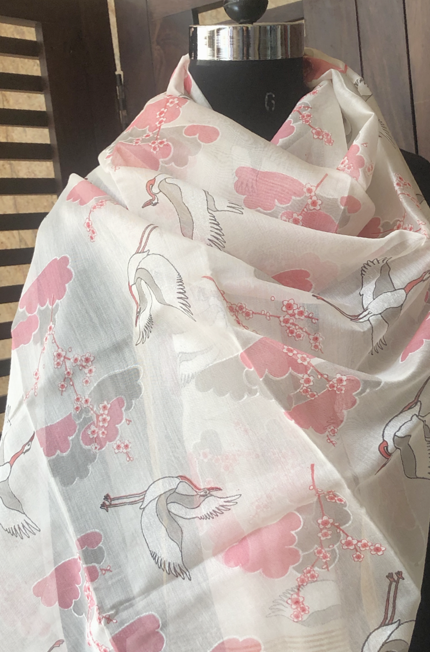 handwoven chanderi dupatta - pink flamingoes & clouds