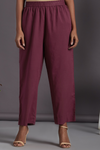 ELASTICATED CAMBRIC PANTS -WINE