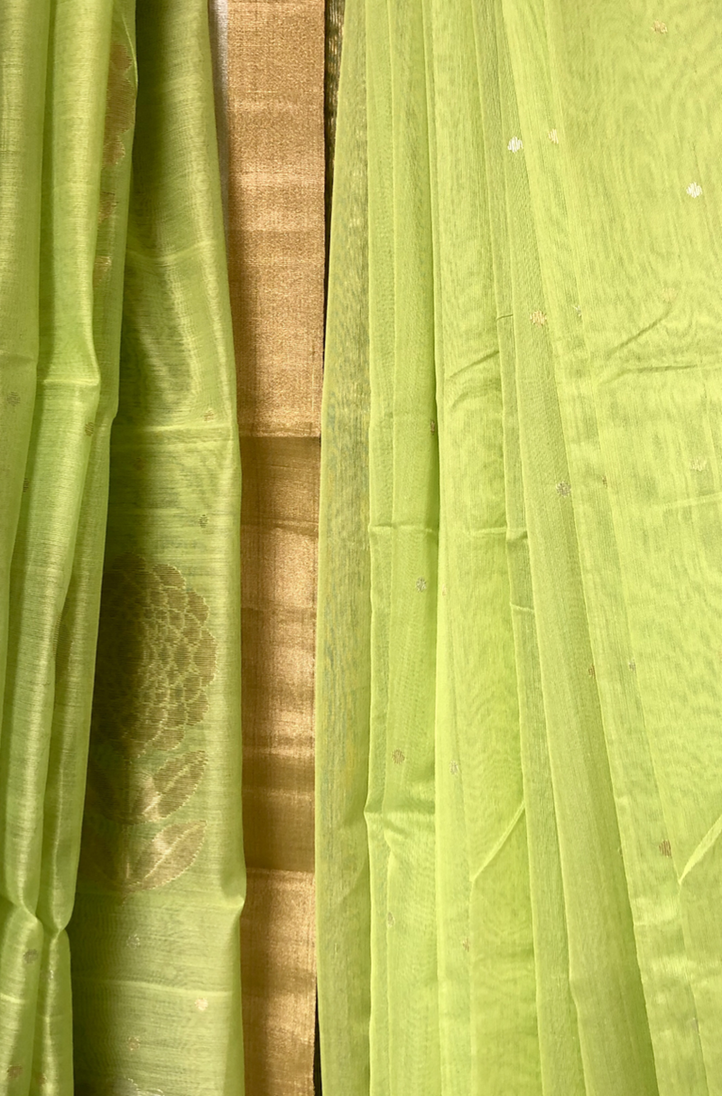 handwoven chanderi saree - peony garden & drops of gold